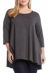 Plus Size Women's Karen Kane Three Quarter Sleeve A Line Tunic Dark Heather Grey