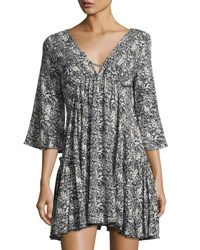 On The Road Arabella Printed Empire Waist Ruffle Dress Black Pattern