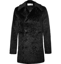Saint Laurent Double Breasted Faux Fur Coat Black