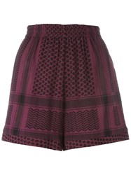 Cecilie Copenhagen Multi Pattern Elastic Waistband Shorts Pink And Purple