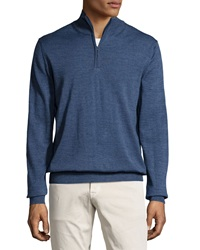 Neiman Marcus Half Zip Wool Blend Cardigan Blue