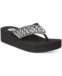 Yellow Box Blanc Rhinestone Wedge Flip Flops Women's Shoes Black White