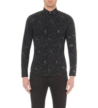 Diesel S Cure Space Print Cotton Shirt Black