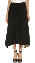 Derek Lam Long Flare Wrap Skirt Black Biscuit