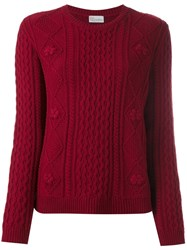 Red Valentino Cable Knit Sweater Red