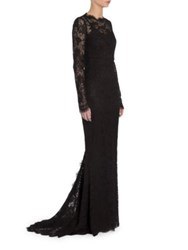 Dolce And Gabbana Long Sleeve Open Back Lace Gown Black