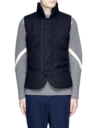 Sacai Down Padded Wool Flannel Vest Blue