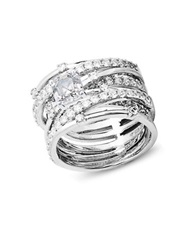 Crislu Center Stone Cubic Zirconia Sterling Silver And Platinum Jennifer Stack Ring