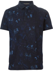 Valentino Butterfly Print Polo Shirt Blue