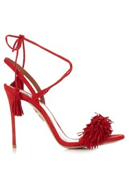 Aquazzura Wild Thing Fringed Suede Sandals Red