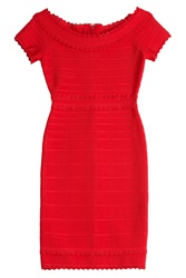 Herve Leger Herve Leger Bardot Bandage Dress With Cut Outs Red
