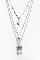 Boohoo Dreamcatcher Layered Necklace Silver