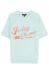 Juicy Couture Embellished Jersey Pullover Turquoise