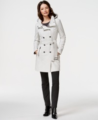 Calvin Klein Water Resistant Hooded Trench Coat Cement