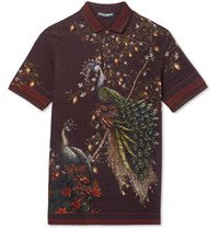 Dolce And Gabbana Slim Fit Peacock Print Cotton Pique Polo Shirt Burgundy