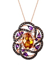 Levian 14K Strawberry Gold Multi Semiprecious Stone Flower Pendant Multi Stone Rose Gold