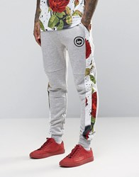 Hype Cuffed Joggers With Rose Panels Grey