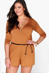 Boohoo Ainsley Wrap Front Playsuit Tan