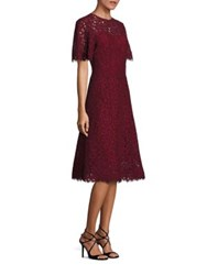 Rickie Freeman For Teri Jon Floral Lace A Line Dress Wine
