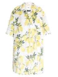 Dolce And Gabbana Lemon Print Fil Coupe Coat