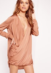 Missguided Satin Wrap Over Dress Pink Brown