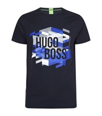 Hugo Boss Green Teeos Graphic Logo T Shirt Male Navy