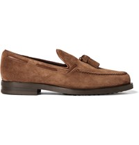 Tod's Suede Tasselled Loafers Tan