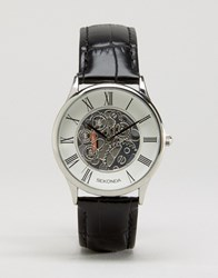 Sekonda Exposed Mechanical Skeleton Leather Watch In Black Exclusive To Asos Black