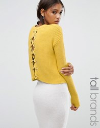Missguided Tall Lace Up Back Boxy Jumper Mustard Yellow
