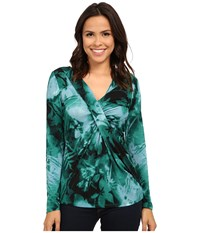 Adrianna Papell Printed V Neck Long Sleeve Top Gathered At Chest Teal Multi Women's Long Sleeve Pullover