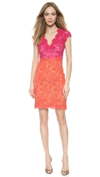 Reem Acra Two Tone Lace Dress Peony Persimmon
