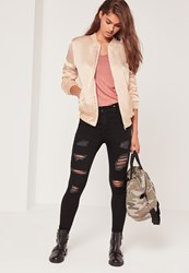 Missguided Tall Exclusive Satin Bomber Jacket Nude Cream