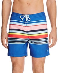 Original Penguin Rainbow Stripes Swim Trunks True Blue