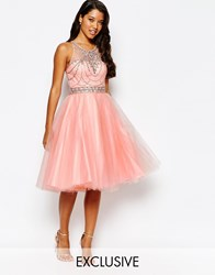 Forever Unique Embellished Prom Dress With Tulle Skirt Pink
