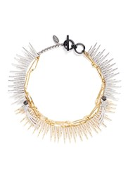 Venna Strass Pave Fringe Star Chain Necklace Metallic