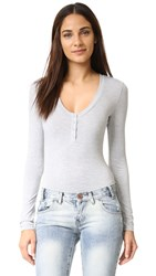 Re Named Long Sleeve Henley Bodysuit Heather Grey