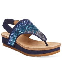 White Mountain Safari Thong Wedge Sandals Women's Shoes Navy
