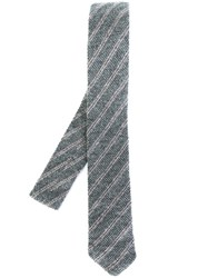 Eleventy Striped Neck Tie Grey