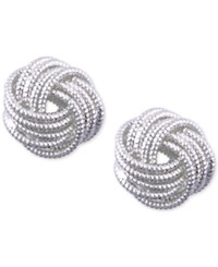Nine West Silver Tone Love Knot Stud Earrings