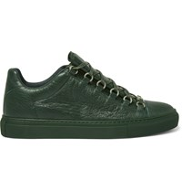 Balenciaga Arena Creased Leather Sneakers Green