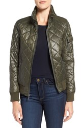 French Connection Women's Quilted Bomber Jacket Olive