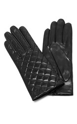 Maison Fabre Quilted Leather Gloves Black