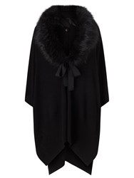 Jacques Vert Faux Fur Trim Cape Black