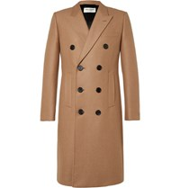 Saint Laurent Double Breasted Camel Blend Coat Sand