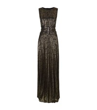 Talbot Runhof Lopez1 Metallic Ruched Gown Female Gold