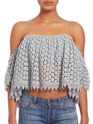 Tularosa Amelia Lace Off The Shoulder Cropped Top Mint White Black