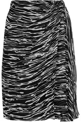 Giambattista Valli Wrap Effect Zebra Print Silk Chiffon Skirt Animal Print