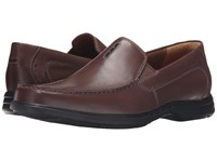 Clarks Un.Easley Twin Dark Brown Leather Men's Slip On Shoes