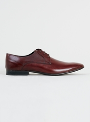 Topman Ray Burgundy Leather Derby Shoes Red