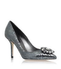 Dolce And Gabbana Bellucci Sequin Pumps 90 Female Blue